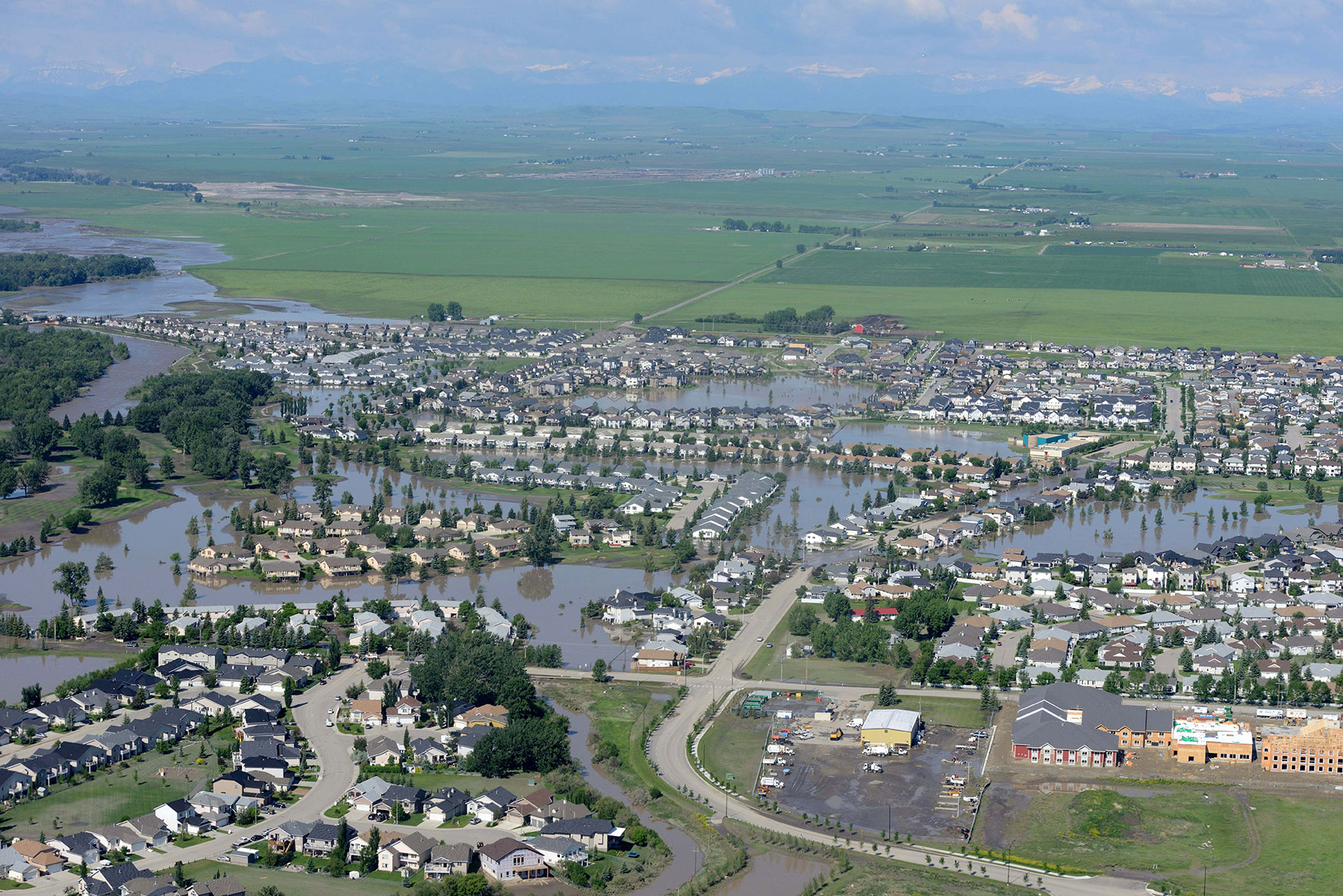 The town of High River under water