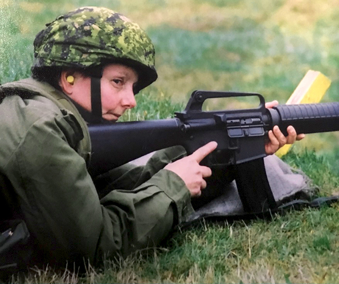 Sergeant Cheryl Crispin (then a Private) practices with her service rifle